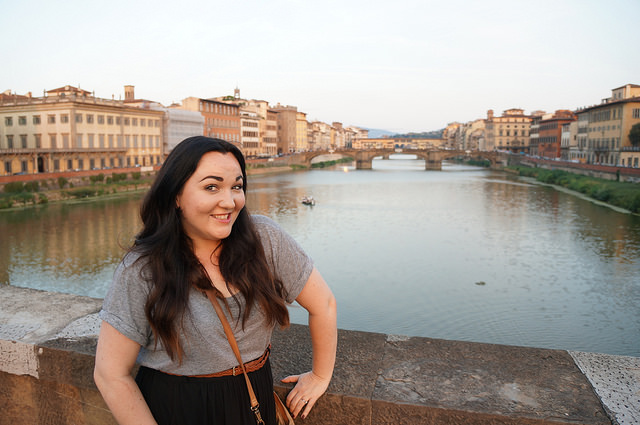 Cheesy smiley photo overlooking the Ponte Vecchio taken by the lovely @aquigley